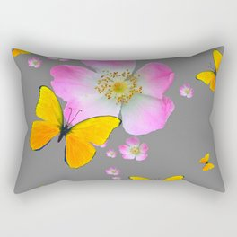 YELLOW BUTTERFLIES & PINK WILD ROSES Rectangular Pillow