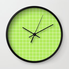 Inchworm - green color - White Lines Grid Pattern Wall Clock