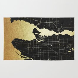 Vancouver Canada Black and Gold Map Rug