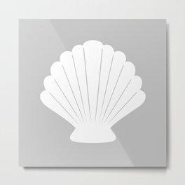 Seashell (White & Gray) Metal Print