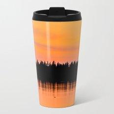Orange Sunset With Forest Reflection On Lake Metal Travel Mug