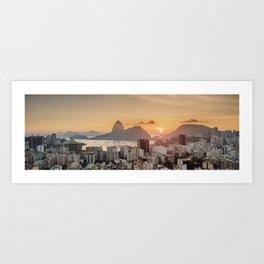 View over Botafogo towards the Sugarloaf Mountain at sunrise, Rio de Janeiro, Brazil Art Print