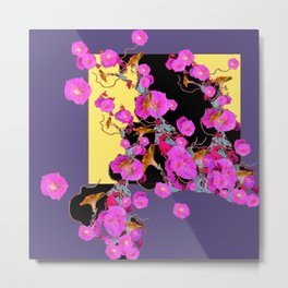 Decorative Pink Morning Glories on Grey & Yellow Art Design Metal Print