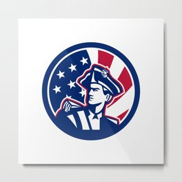 American Patriot USA Flag Icon Metal Print