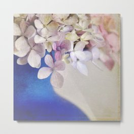 Pink and Blue Floral. Metal Print