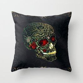 Jeweled Spider Skull Throw Pillow