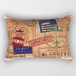 Entry Approved - Passport Stamps Rectangular Pillow