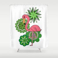 flamingo Shower Curtains featuring Flamingo by tamaradeborah