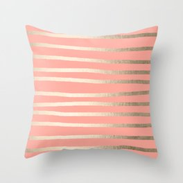 Simply Drawn Stripes in White Gold Sands and Salmon Pink Throw Pillow