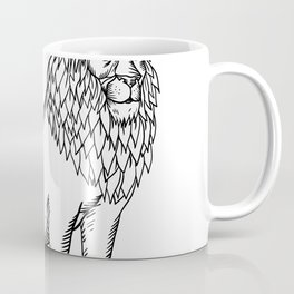 Etching style illustration of a blue male lion with red mane wearing a tiara or crown sitting down d Coffee Mug
