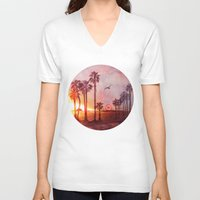 santa monica V-neck T-shirts featuring Sunset in Santa Monica by Kate Tova