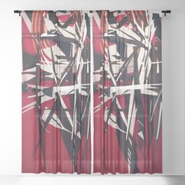 The Target- Red, Black and White Modern Abstract Sheer Curtain