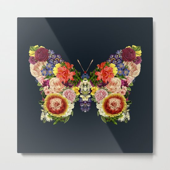 Spring Butterfly Floral Metal Print