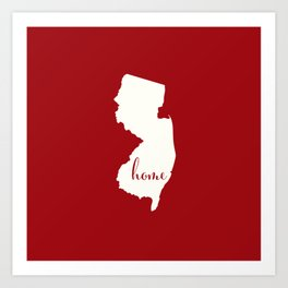 New Jersey is Home - White on Red Art Print