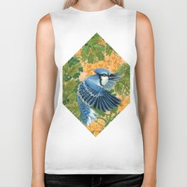 Autumn Song: Blue Jay and Cassia Biker Tank