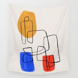 Enshape by Ejaaz Haniff 'Primary Circuit' Fun Colorful Shapes Ink Line Pattern Mid Century Modern Style Yellow Orange Blue Wall Tapestry
