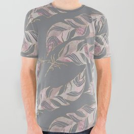 Blush Pink Feather Boho Pattern All Over Graphic Tee
