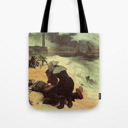 Vintage French drowned sailors charity advertising Tote Bag