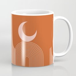 Geometric Lines in Terracotta Rose Gold 16 (Rainbow and Moon Abstraction) Coffee Mug