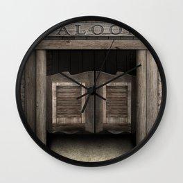 Wild West Saloon with Rustic Wood Doors Wall Clock