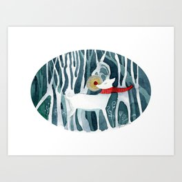 The Red Nose Reindeer Art Print