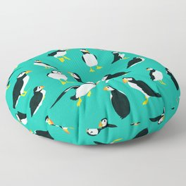 Puffins on Turquoise Floor Pillow