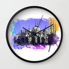 Venezia San Marco - watercolor and pencil Art Wall Clock