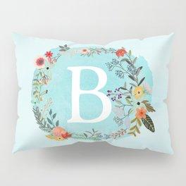 Personalized Monogram Initial Letter B Blue Watercolor Flower Wreath Artwork Pillow Sham