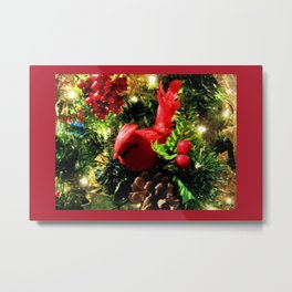 Red Bird Christmas DPGF121225b Metal Print