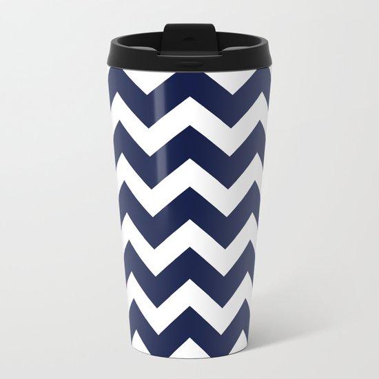 Chevron Navy Blue Metal Travel Mug