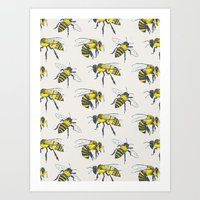 bees Art Prints featuring Bees by Tracie Andrews