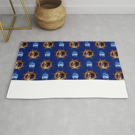Ocean Blue Jolly Roger Pirate Wheel Rug