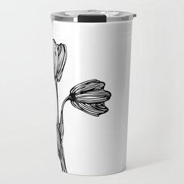 black and white flower drawing Travel Mug