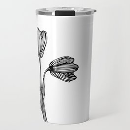black and white flower drawing Travel Mug