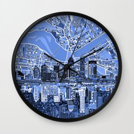 louisville city skyline blue Wall Clock