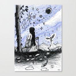 The Stars - Original Drawing by Minxi Canvas Print