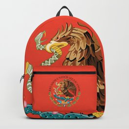 Close up of the Seal from the flag of Mexico on Adobe red background Backpack