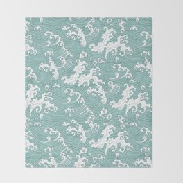 Traditional Hand Drawn Japanese Wave Ink Throw Blanket