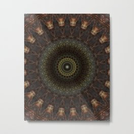 Ornamented mandala in green, red and brown tones Metal Print