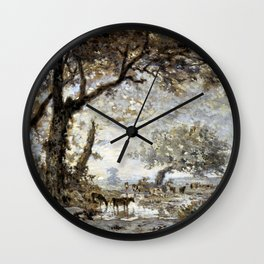 Sunset From The Forest Of Fontainebleau - Theodore Rousseau Wall Clock