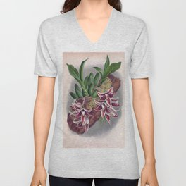 Paphinia Lindeniana Vintage Wine Orchids In A Log Unisex V-Neck