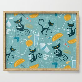 Mid century modern atomic style cats and cocktails Serving Tray