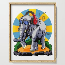 Hipster Elephant | Cool Glasses Headphones Swag Serving Tray