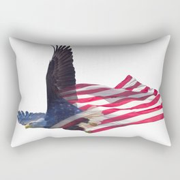 Double exposure effect of north american bald eagle on american flag. Rectangular Pillow