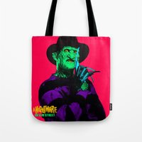 freddy krueger Tote Bags featuring KRUEGER by UNDEAD MISTER / MRCLV