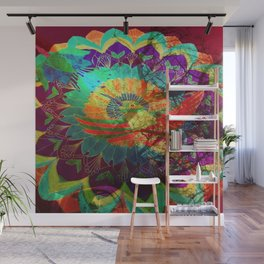 I'd rather be a hummingbird caged in your psychedelic heart Wall Mural