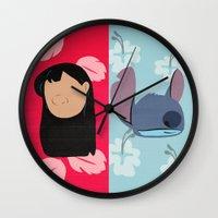 lilo and stitch Wall Clocks featuring Lilo & Stitch by Raquel Segal