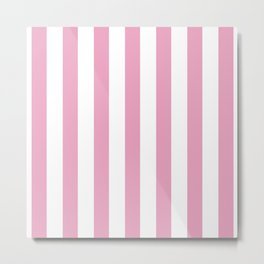 Pink and white stripes Metal Print