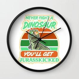 Funny dinosaur T-shirt with T-Rex motif Wall Clock