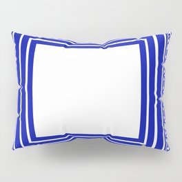 Blue and White Lines Geometric Abstract Pattern Pillow Sham